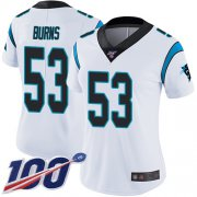 Wholesale Cheap Nike Panthers #53 Brian Burns White Women's Stitched NFL 100th Season Vapor Limited Jersey
