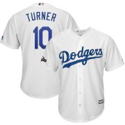 Wholesale Cheap Los Angeles Dodgers #10 Justin Turner Majestic 2019 Postseason Home Official Cool Base Player Jersey White