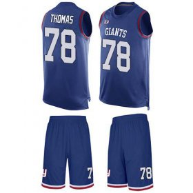 Wholesale Cheap Nike Giants #78 Andrew Thomas Royal Blue Team Color Men\'s Stitched NFL Limited Tank Top Suit Jersey