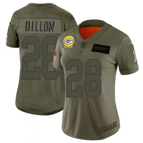 Wholesale Cheap Nike Packers #28 AJ Dillon Camo Women\'s Stitched NFL Limited 2019 Salute To Service Jersey
