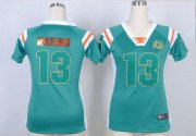 Wholesale Cheap Nike Dolphins #13 Dan Marino Aqua Green Team Color Women's Stitched NFL Elite Draft Him Shimmer Jersey
