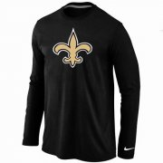Wholesale Cheap Nike New Orleans Saints Logo Long Sleeve T-Shirt Black