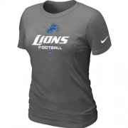 Wholesale Cheap Women's Nike Detroit Lions Critical Victory NFL T-Shirt Dark Grey