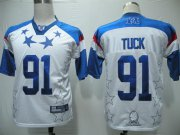 Wholesale Cheap Giants #91 Justin Tuck 2011 White and Blue Pro Bowl Stitched NFL Jersey