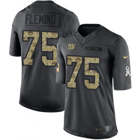 Wholesale Cheap Nike Giants #75 Cameron Fleming Black Men\'s Stitched NFL Limited 2016 Salute to Service Jersey