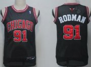 Wholesale Cheap Chicago Bulls #91 Dennis Rodman Black With Chicago Swingman Jersey