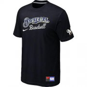Wholesale Cheap Milwaukee Brewers Nike Short Sleeve Practice MLB T-Shirt Black