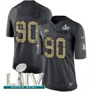 Wholesale Cheap Nike Chiefs #90 Emmanuel Ogbah Black Super Bowl LIV 2020 Youth Stitched NFL Limited 2016 Salute to Service Jersey