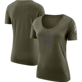Wholesale Cheap Women\'s Baltimore Ravens Nike Olive Salute to Service Legend Scoop Neck T-Shirt