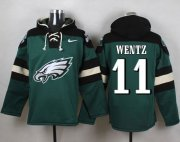 Wholesale Cheap Nike Eagles #11 Carson Wentz Midnight Green Player Pullover Hoodie