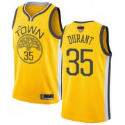 Wholesale Cheap Warriors #35 Kevin Durant Gold 2019 Finals Bound Basketball Swingman Earned Edition Jersey