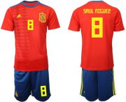 Wholesale Cheap Spain #8 Saul Niguez Home Soccer Country Jersey