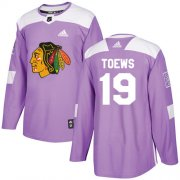 Wholesale Cheap Adidas Blackhawks #19 Jonathan Toews Purple Authentic Fights Cancer Stitched Youth NHL Jersey