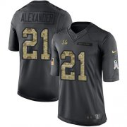 Wholesale Cheap Nike Bengals #21 Mackensie Alexander Black Youth Stitched NFL Limited 2016 Salute to Service Jersey
