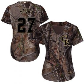 Wholesale Cheap Rockies #27 Trevor Story Camo Realtree Collection Cool Base Women\'s Stitched MLB Jersey