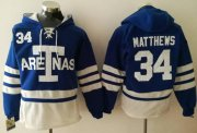 Wholesale Cheap Maple Leafs #34 Auston Matthews Blue Sawyer Hooded Sweatshirt 1918 Arenas Throwback Stitched NHL Jersey