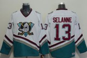 Wholesale Cheap Ducks #13 Teemu Selanne White CCM Throwback Stitched NHL Jersey