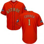 Wholesale Cheap Astros #1 Carlos Correa Orange 2018 Gold Program Cool Base Stitched Youth MLB Jersey