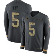 Wholesale Cheap Nike Redskins #5 Tress Way Anthracite Salute to Service Men's Stitched NFL Limited Therma Long Sleeve Jersey