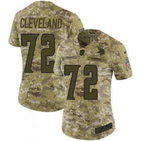 Wholesale Cheap Nike Vikings #72 Ezra Cleveland Camo Women\'s Stitched NFL Limited 2018 Salute To Service Jersey
