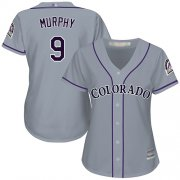 Wholesale Cheap Rockies #9 Daniel Murphy Grey Road Women's Stitched MLB Jersey
