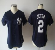 Wholesale Yankees #2 Derek Jeter Navy Blue Women's Fashion Stitched Baseball Jersey