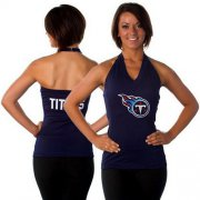 Wholesale Cheap Women's All Sports Couture Tennessee Titans Blown Coverage Halter Top