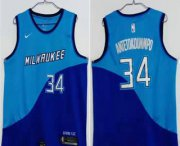 Wholesale Cheap Men's Milwaukee Bucks #34 Giannis Antetokounmpo Blue Nike 2021 Swingman Stitched NBA Jersey