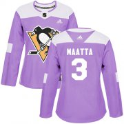 Wholesale Cheap Adidas Penguins #3 Olli Maatta Purple Authentic Fights Cancer Women's Stitched NHL Jersey
