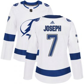Cheap Adidas Lightning #7 Mathieu Joseph White Road Authentic Women\'s Stitched NHL Jersey