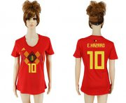 Wholesale Cheap Women's Belgium #10 E.Hazard Red Home Soccer Country Jersey
