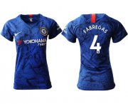 Wholesale Cheap Women's Chelsea #4 Fabregas Home Soccer Club Jersey