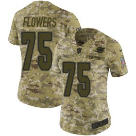 Wholesale Cheap Nike Dolphins #75 Ereck Flowers Camo Women\'s Stitched NFL Limited 2018 Salute To Service Jersey