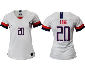 Wholesale Cheap Women\'s USA #20 Long Home Soccer Country Jersey