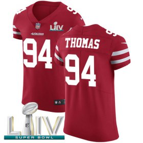 Wholesale Cheap Nike 49ers #94 Solomon Thomas Red Super Bowl LIV 2020 Team Color Men\'s Stitched NFL Vapor Untouchable Elite Jersey