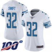Wholesale Cheap Nike Lions #32 D'Andre Swift White Women's Stitched NFL 100th Season Vapor Untouchable Limited Jersey