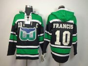 Wholesale Cheap Whalers #10 Ron Francis Green/Black Sawyer Hooded Sweatshirt Embroidered NHL Jersey