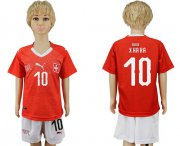 Wholesale Cheap Switzerland #10 Xhaka Kid Soccer Country Jersey