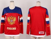 Wholesale Cheap Team Russia Blank Red 2014 Women's Stitched NHL Jersey