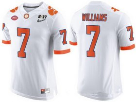 Wholesale Cheap Men\'s Clemson Tigers #7 Mike Williams White 2017 Championship Game Patch Stitched CFP Nike Limited Jersey