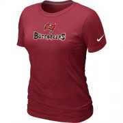 Wholesale Cheap Women's Nike Tampa Bay Buccaneers Authentic Logo T-Shirt Red