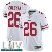 Wholesale Cheap Nike 49ers #26 Tevin Coleman White Super Bowl LIV 2020 Youth Stitched NFL Vapor Untouchable Limited Jersey