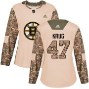 Wholesale Cheap Adidas Bruins #47 Torey Krug Camo Authentic 2017 Veterans Day Women's Stitched NHL Jersey