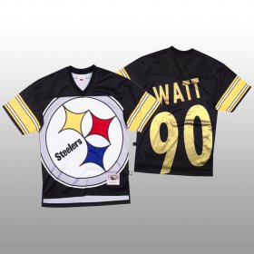 Wholesale Cheap NFL Pittsburgh Steelers #90 T.J. Watt Black Men\'s Mitchell & Nell Big Face Fashion Limited NFL Jersey