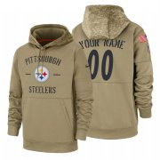 Wholesale Cheap Pittsburgh Steelers Custom Nike Tan 2019 Salute To Service Name & Number Sideline Therma Pullover Hoodie