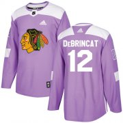 Wholesale Cheap Adidas Blackhawks #12 Alex DeBrincat Purple Authentic Fights Cancer Stitched Youth NHL Jersey