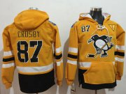 Wholesale Cheap Penguins #87 Sidney Crosby Gold Sawyer Hooded Sweatshirt 2017 Stadium Series Stitched NHL Jersey
