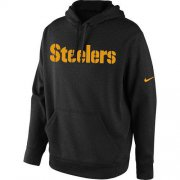 Wholesale Cheap Men's Pittsburgh Steelers Nike Black KO Wordmark Performance Hoodie