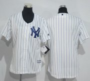 Wholesale Cheap Yankees Blank White Strip Women's Home Stitched MLB Jersey