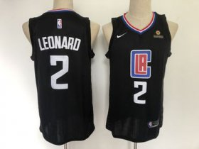 Wholesale Cheap Clippers 2 Kawhi Leonard Black Nike Swingman Jersey